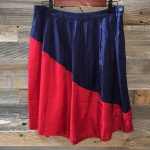 Anthro Postmark Navy red color block skirt Sz 10